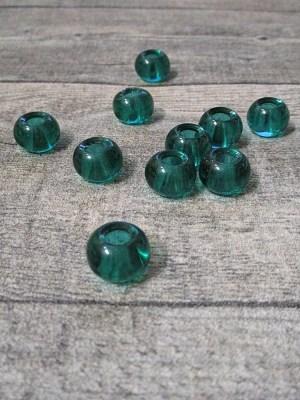 Glasperlen Glaskugeln Großlochperlen flaschengrün dunkelgrün 14x10 mm Lochgröße 5,5 mm - MONDSPINNE