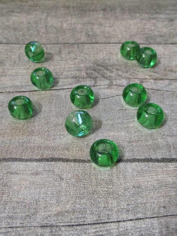 Glasperlen Glaskugeln Großlochperlen hellgrün 14x10 mm Lochgröße 5,5 mm - MONDSPINNE