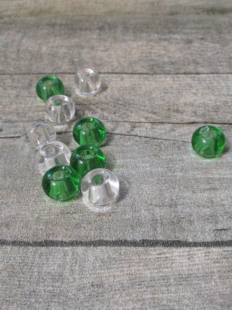 Glasperlen Glaskugeln Großlochperlen hellgrün klar durchsichtig transparent 14x10 mm Lochgröße 5,5 mm - MONDSPINNE