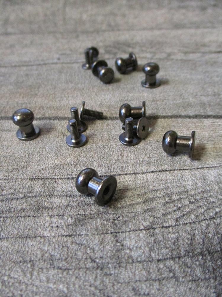 Knopfniete Kopfschraubniete Beiltaschenknopf Patronentaschenverschluss dunkelgrau Metall 10x8 mm - MONDSPINNE