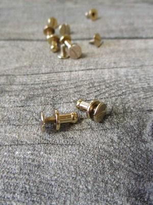 Knopfniete Kopfschraubniete Beiltaschenknopf Patronentaschenverschluss gold Metall 8x4 mm - MONDSPINNE