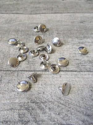 Niete Hohlniete rund flach Metall silber 10x5 mm - MONDSPINNE