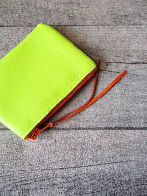 Börse Portemonnaie Ledertasche Neon Rindsleder gelb neongelb orange - MONDSPINNE