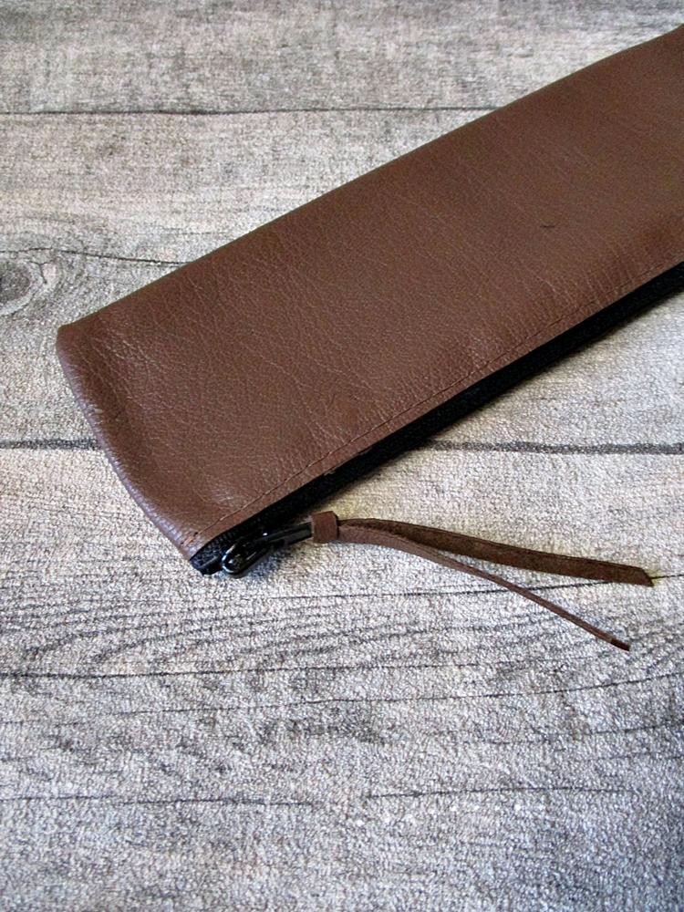 Federmäppchen Stiftemäppchen Federtasche braun schwarz Leder - MONDSPINNE
