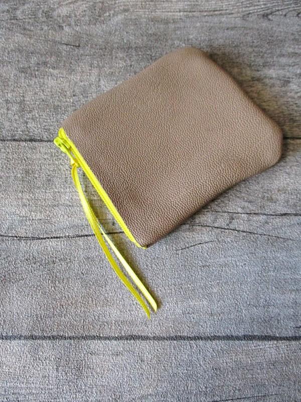 Börse Portemonnaie Leder beige gelb - MONDSPINNE