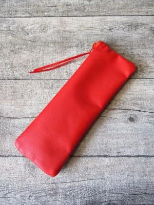 Federmäppchen Stiftemäppchen Stop! rot-orangerot Leder - MONDSPINNE