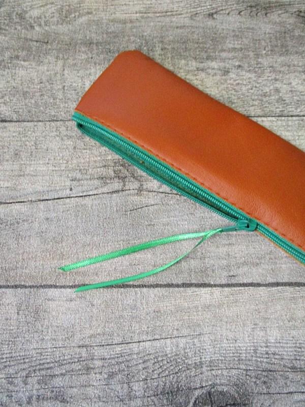 Federmäppchen Stiftemäppchen braun-grün Leder - MONDSPINNE