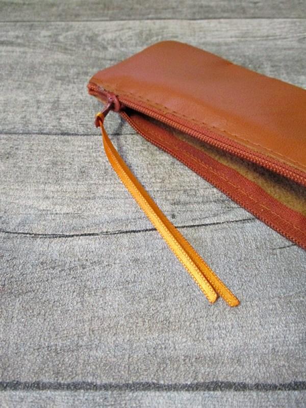 Federmäppchen Stiftemäppchen braun-orange Leder - MONDSPINNE