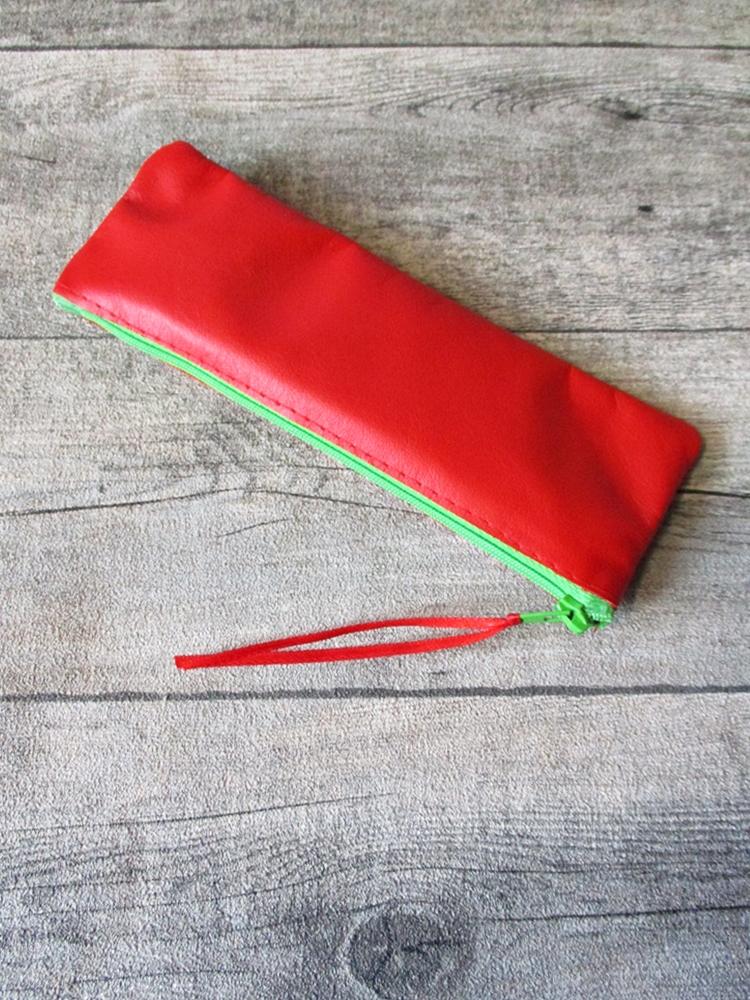Federmäppchen Stiftemäppchen rot-hellgrün Leder MONDSPINNE
