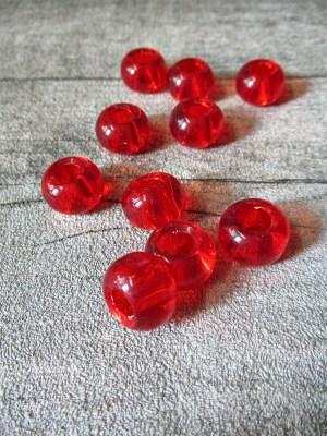 Glasperlen Glaskugeln Großlochperlen rot 14x10 mm Lochgröße 5,5 mm - MONDSPINNE