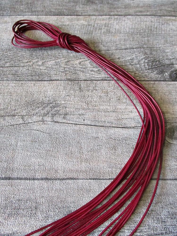 Lederband Lederriemen Ziegenleder rund weinrot 100 cm 1,5 mm - MONDSPINNE