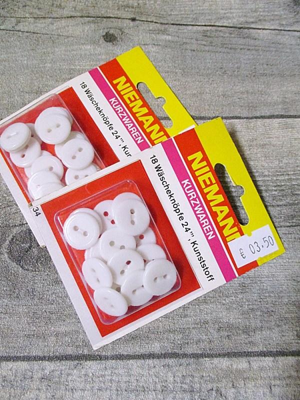 Wäscheknöpfe Kunststoff weiß rund 14 mm Set 18 Stück Niemann - MONDSPINNE