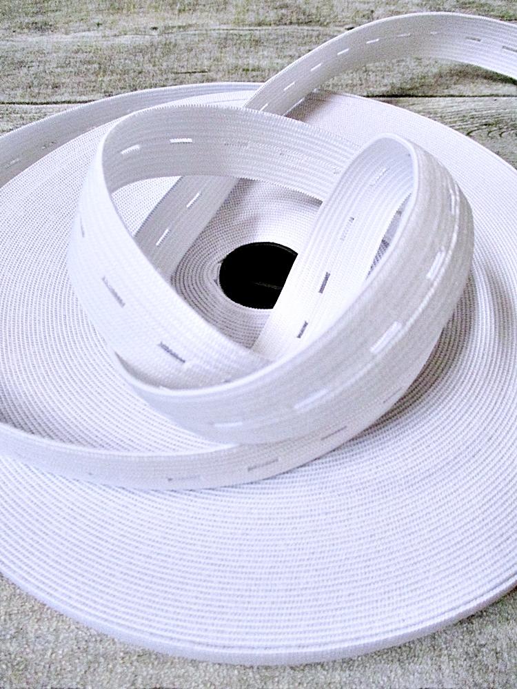 Lochgummi Knopflochgummi Hosengummi 19 mm 1 m weiß - MONDSPINNE