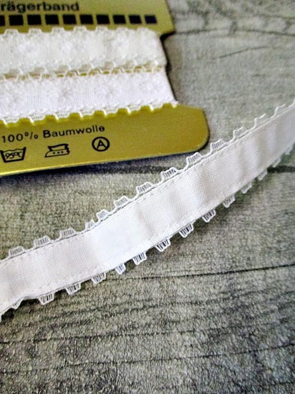 Trägerband weiß Baumwolle Spitze Wenco 80 cm 17 mm - MONDSPINNE