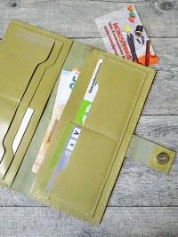 Kreditkartenetui Geldscheinetui Bente 20x10 cm Magnetverschluss Kalbsleder Rindsleder olivbraun - MONDSPINNE