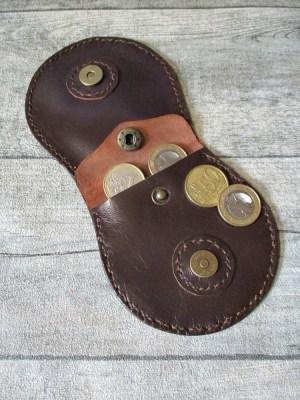 Börse Portemonnaie Schafnappaleder braun messing Magnetverschluss Druckknopf Jarno - MONDSPINNE
