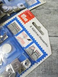 Hosenhaken nähfrei Metall silber 8 Stück Prym - MONDSPINNE