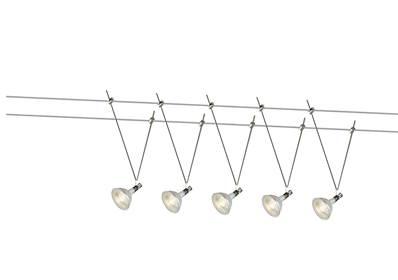 spot sur cable tendu 5 ampoules mr16 avec cable de 10 metres et finition chromee euclid
