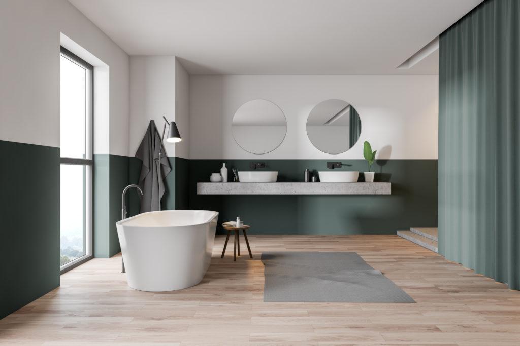 tenter par une salle de bains verte