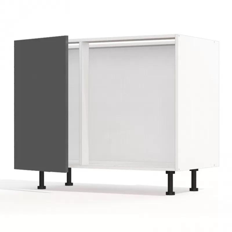 mon espace maison meuble bas angle cuisine gris brillant largeur 100cm