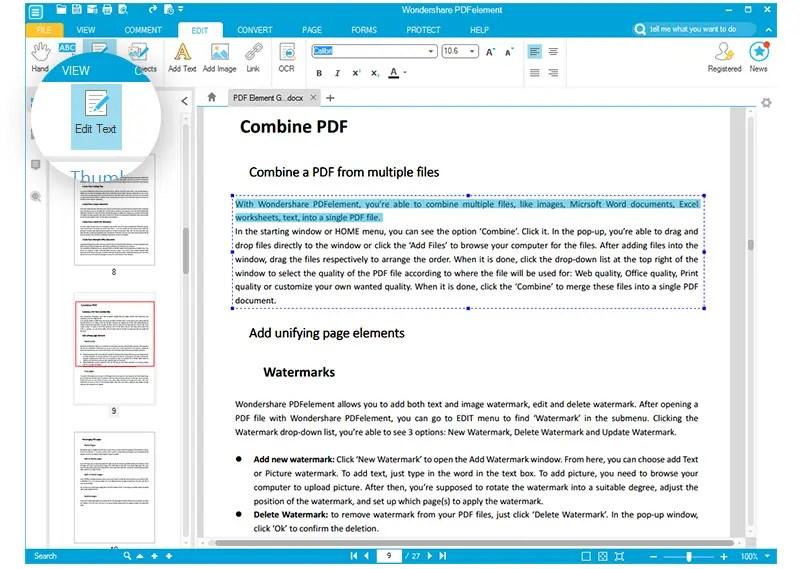 Edit PDF file Wondershare review