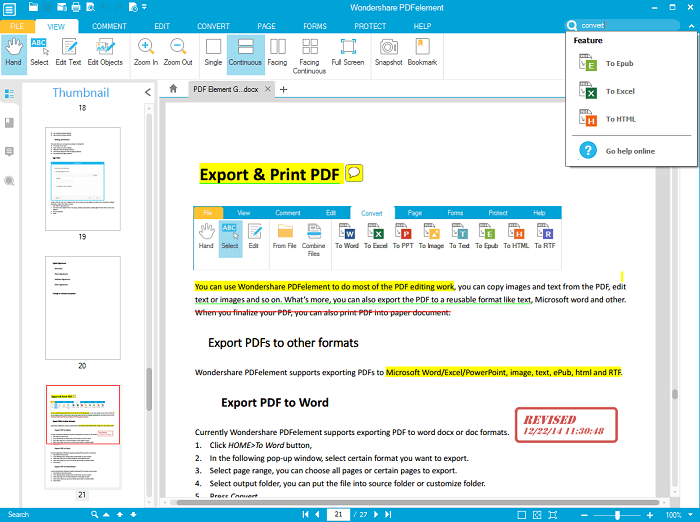 search function Wondershare PDF Creator