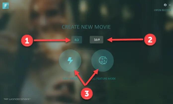 wondershare filmora startup screen