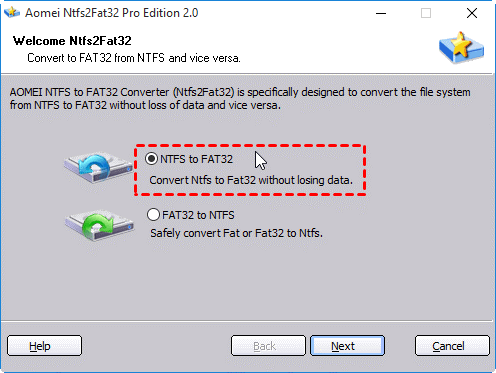 ntfs-to-fat32 disk partition convertor