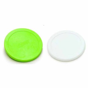 Dynamo Quiet White and Green Small 2 1/2 Inch Air Hockey Puck Set | moneymachines.com