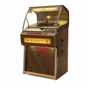 Crosley CR1207A-OA Rocket 80 CD Bluetooth Full-Size Jukebox Side View | moneymachines.com