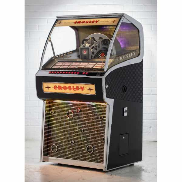 Crosley CR1210A-BK Rocket 45 Vinyl Jukebox Side View | moneymachines.com