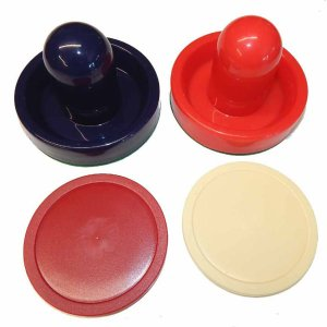 Red and Blue Air Hockey Goalie Mallets and 2 Large Pucks | moneymachines.com