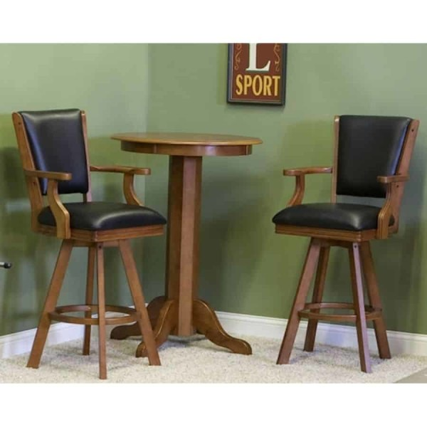 """C.L. Bailey 30"""" Pub Table and Backed Bar Stool Set In Warm Chestnut Finish 