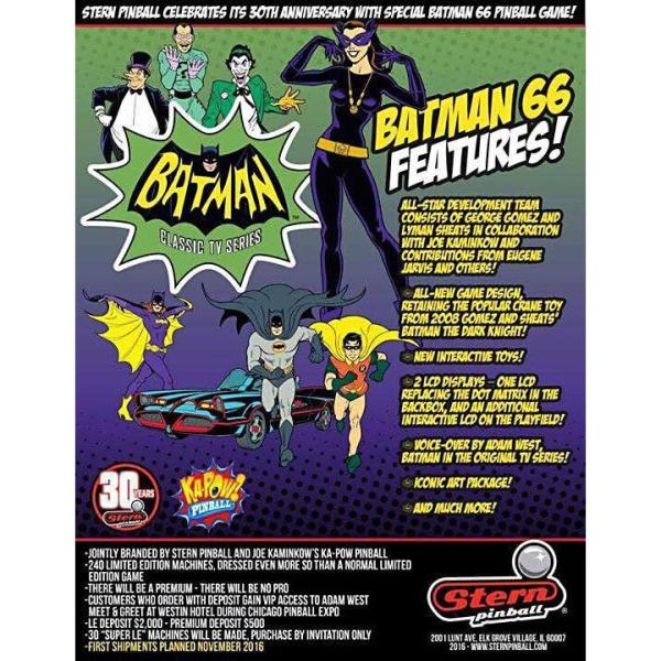 Stern Batman 66 Premium Pinball Game Machine Flyer | moneymachines.com