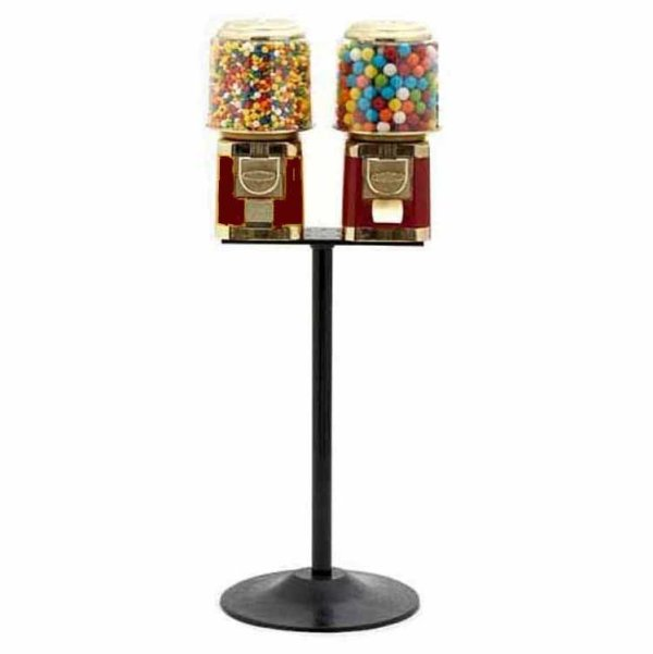 2 Classic Gumball Vending Machines On Cast Iron Stand | moneymachines.com