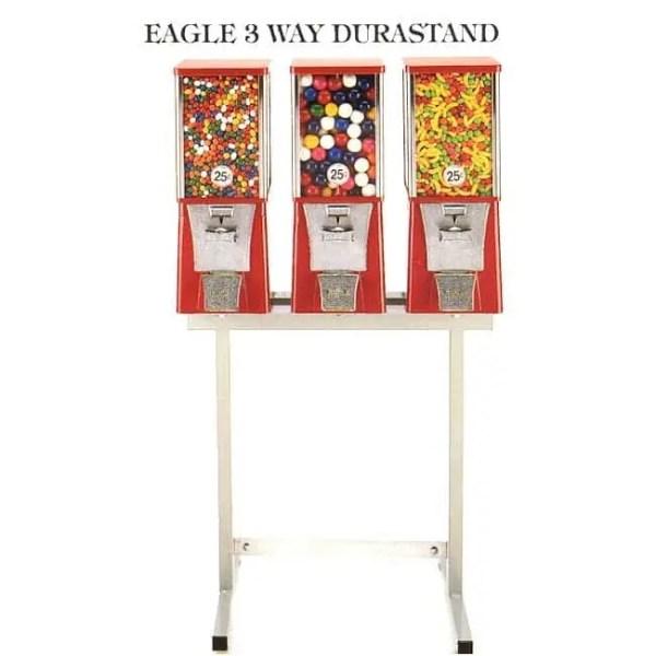 3 Eagle Cabinet Vending Machines on 3-Way Black Durastand   moneymachines.com