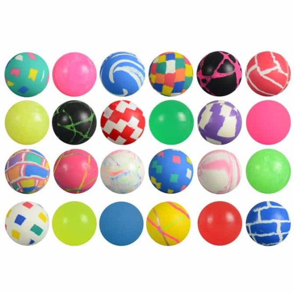 32mm (1 1/4 inch) Assorted Mixed High Bounce Super Balls - 1000 Count Case   moneymachines.com