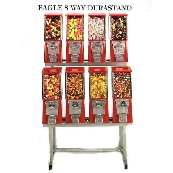 8 Eagle Cabinet Vending Machines on 8-Way Black Durastand | moneymachines.com