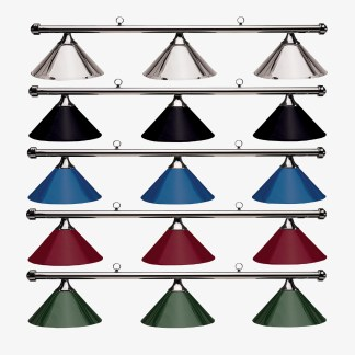 HJ Scott Gunmetal Bar 3-Shade Metal Billiard Table Light | moneymachines.com