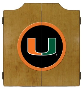 Miami Hurricanes College Logo Dart Cabinet   moneymachines.com
