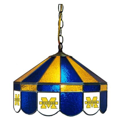 Michigan Wolverines Stained Glass Swag Hanging Lamp | moneymachines.com
