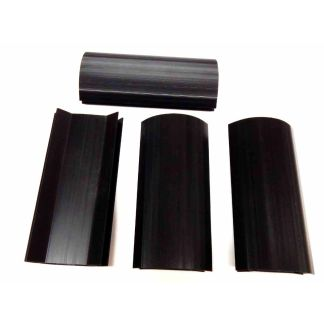 Black 7 3/4 x 1/2 Inch Plastic Pool Table Miter Corners - Set of 4 | moneymachines.com