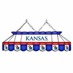 "Kansas Jayhawks MVP 40"" Tiffany Stained Glass Pool Table Lamp | moneymachines.com"