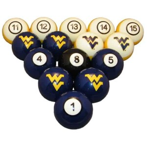 West Virginia Mountaineers Billiard Ball Set | moneymachines.com