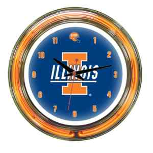 Illinois Fighting Illini Neon Wall Clock | Moneymachines.com