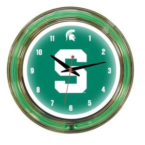 Michigan State Spartans Neon Wall Clock | Moneymachines.com