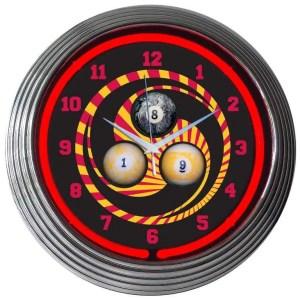 Billiard 1, 8 and 9 Ball Neon Wall Clock | moneymachines.com