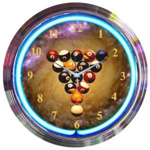 Billiards Space Balls Neon Wall Clock | moneymachines.com