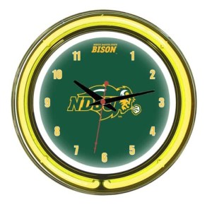 North Dakota State Bison Neon Wall Clock   Moneymachines.com