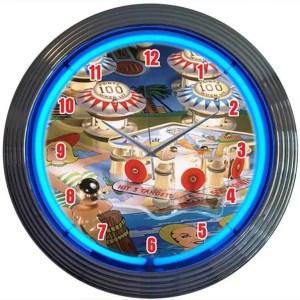 Pinball Machine Neon Wall Clock | moneymachines.com